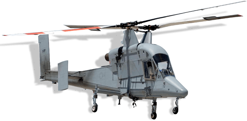 A 3D model of a Kaman K-MAX Helicopter used to depict one of our custom flight dynamics models