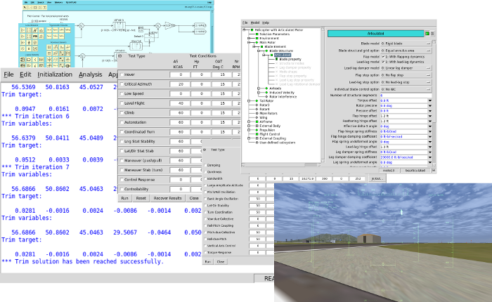 An image showing all of the different tools included in the FLIGHTLAB rotorcraft simulation software package.